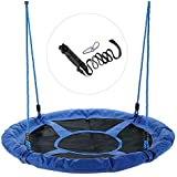 "CO-Z 40"" Saucer Tree Swing Large Round Outdoor Tree Swing for Kids, Steel Frame Waterproof Easy Install Adjustable Hanging Straps"
