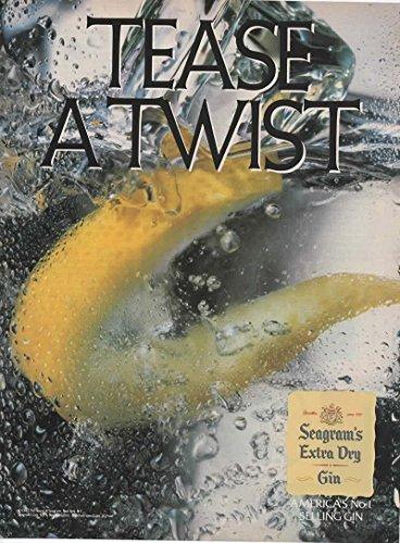 Magazine Print Ad: 1987 Seagram's Extra Dry Gin, Lemon slice,