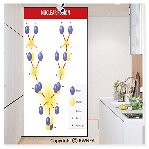 - Window Film Door Sticker Glass Film Nuclear Fusion Proton Neutron Chain Hydrogen Cosmic Energy Molecule Atom Both Suitable for Home and Office, 17.7 x 78.7 inch,Blue Red Yellow