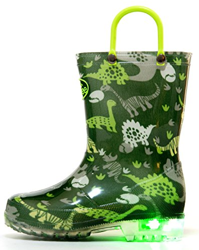 Outee Toddler Boys Kids Light up Rain Boots Waterproof Lightweight Green Dinosaur Cute Lovely Funny with Easy-On Handles Classic Comfortable (Size - Green Light Classic
