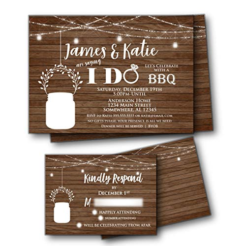 Mason Jar Rustic Wood I Do BBQ Wedding