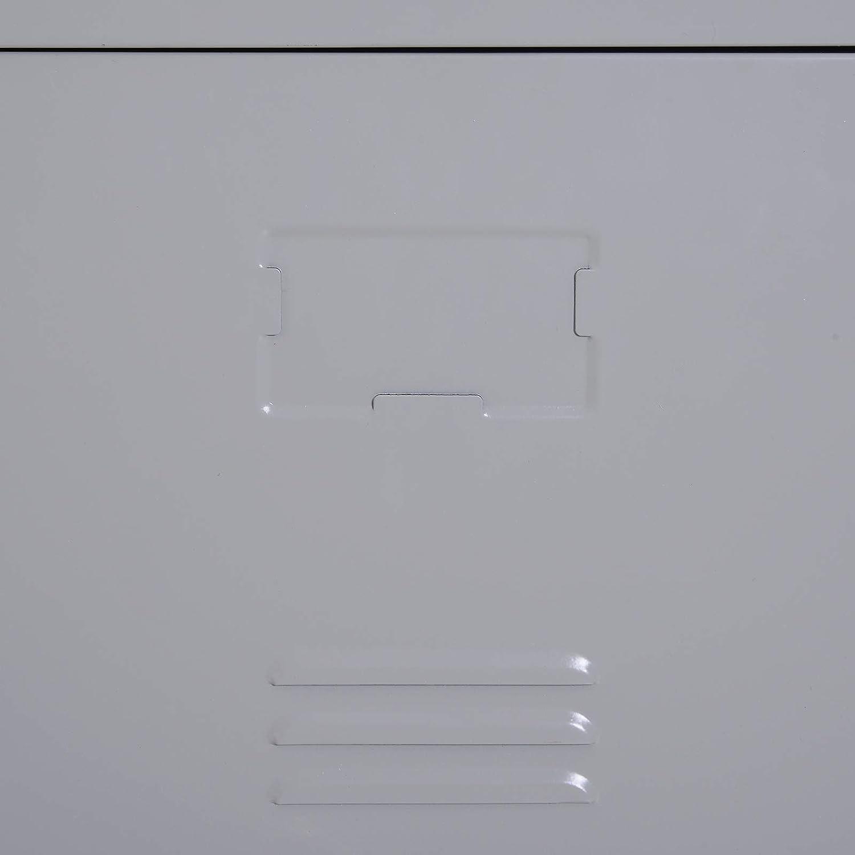 Vinsetto Armadietto 4 Ripiani 2 Porte Chiusura di Sicurezza Ufficio Garage Officina Acciaio Laminato a Freddo 38x46x180cm Grigio