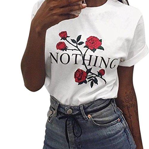 Enjocho Women's Summer Nothing Rose Printing Tops O-Neck Casual Teen Girls Tees T- Shirt