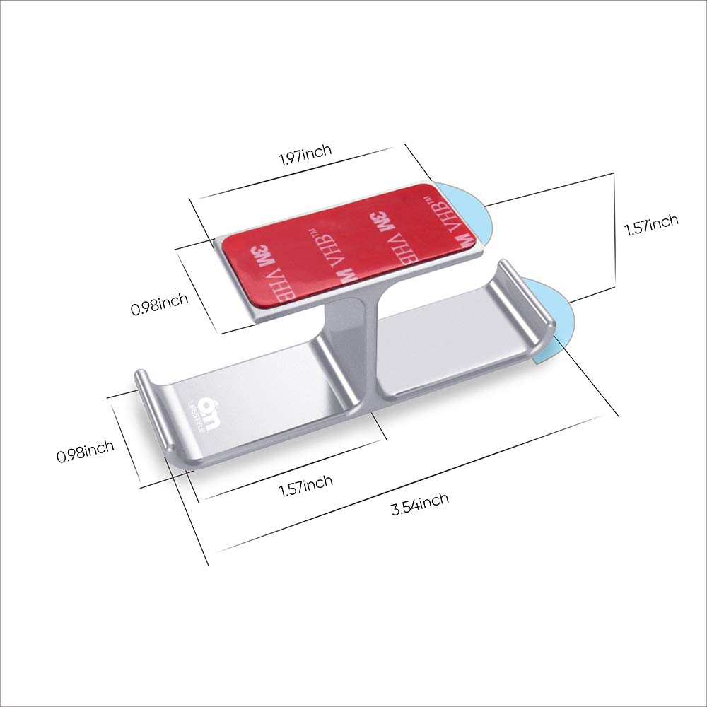 6amLifestyle Soporte de Auriculares para Mesa Aluminio Patentado Adhesivo F/ácil de Instalar Plata Soporte Cascos Oficina y Hogar