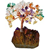 good energy decor - SUNYIK Natural Multicolor Crystal Money Tree,Gold Purple Titanium Crystal Cluster Base Bonsai Sculpture Figurine 4 Inch