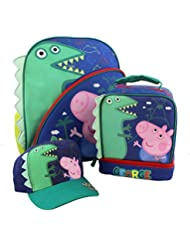 Peppa Pig George 15 inch Backpack Lunch Box Baseball Hat Set