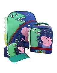 Peppa Pig George 15 inch Backpack Lunch Box Baseball Hat Set