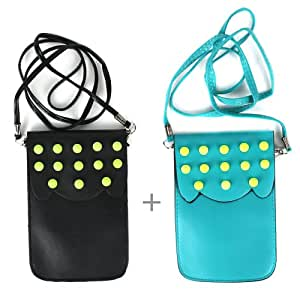 JAVOedge Studded Phone Pouch (Black and Turquoise)