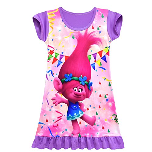 ZHBNN Trolls Toddler Little Girls Nightgown Cartoon Pajamas Princess Dress(Purple,100/2-3Y)