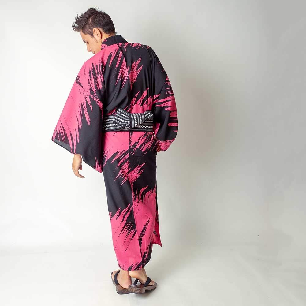 コシノジュンコ男メンズ浴衣4点セット【浴衣 帯 下駄 腰紐】