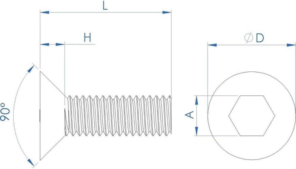 Fullerkreg 18-8 Stainless Steel Hex Drive Flat Head Screw M10 x 1.5 mm Thread Size 30 mm Long,Packs of 10