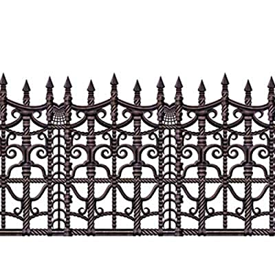 Pack of 6 Insta-Theme Creepy Fence Halloween Border Decorations 30'