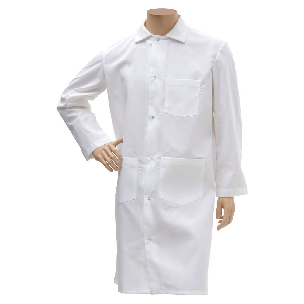 HUBERT White Poly Cotton Long Butcher Frock - Large
