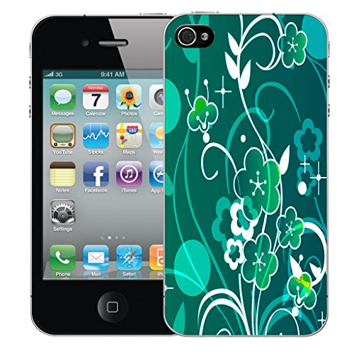 Mobile Case Mate iPhone 4 Silicone Coque couverture case cover Pare-chocs + STYLET - Aromatic Floral pattern (SILICON)