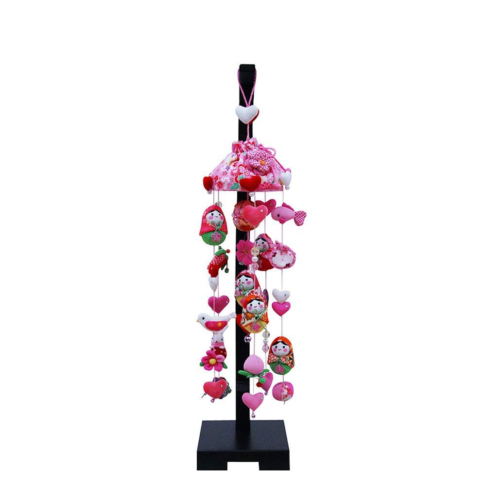 つるし雛 つるし飾り 雛人形 姫だるまとハート 中サイズ (高さ90cm) 飾り台付き   B07LH49VPM