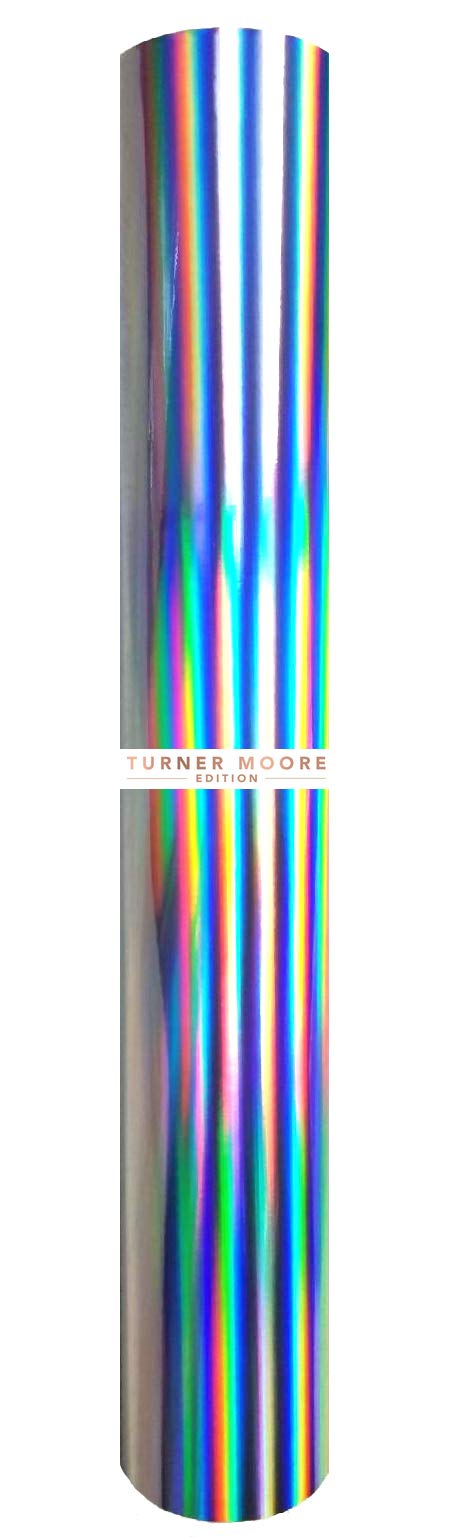 Rainbow Holographic Silver Vinyl Roll, Extra Large 24'' x 30FT Roll for Graphics, Signs, Decals, Craft Cutters, Plotters by StyleTech x Turner Moore Edition (Rainbow Holographic Silver Chrome Vinyl)