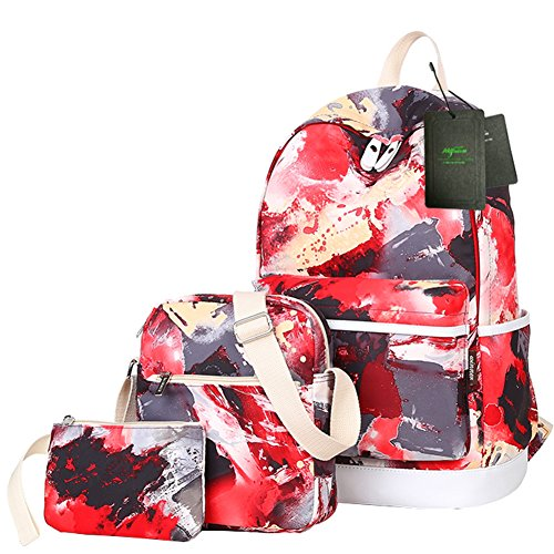 Backpack Bags Wallet 3PCS Set for Women Cute Print Patterned Bookbags