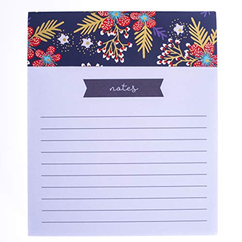 Graphique Red Navy Floral Jotter Notepad - Embellished Gold Foil Pad of Paper w/ 250 Tearable Pages, Elegant and Fun, Great for Kitchen Counters, Nightstands, Desks, and More, 4.5