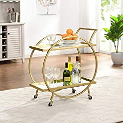 Home Bar Cabinetry FirsTime & Co. Gold Odessa Bar Cart, American Crafted, Gold, 28 x 14 x 32 ,Gold & Mirror home bar cabinetry