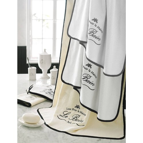 Parador Le Bain Collection Towels, 12 Piece Set - White/Black by TurkishTowels