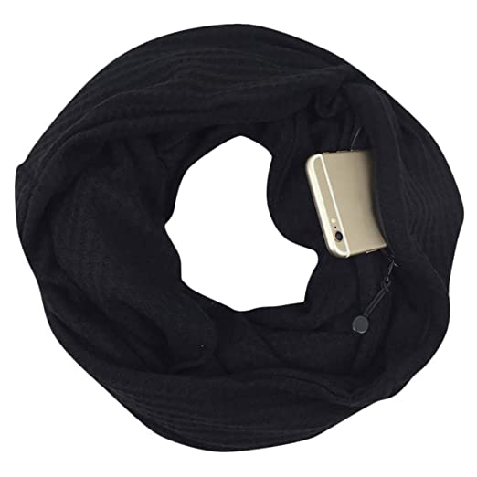 Amazon.com  Allywit Women Fashion Winter Thermal Active Infinity Scarf With  Zip Pocket  Clothing ffc60c5a84e8