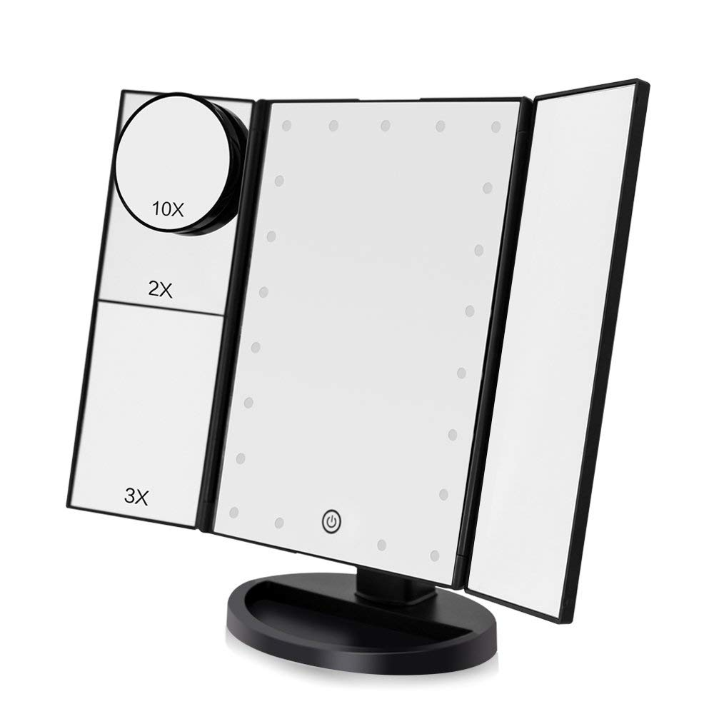 Funtouch LED Lighed Makeup Vanity Mirror with 21 LED Lights, 10X/3X/2X/1X Magnifying Tri-fold Makeup Mirror with Touch Screen,Dual Power Supply,180° Adjustable Rotation,Countertop Cosmetic Mirror