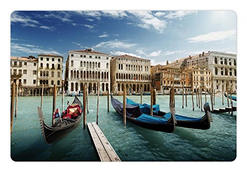 (Ambesonne Italian Pet Mat for Food and Water, Gondolas in The Venetian Adriatic Lagoon Historical Venezia Photo, Rectangle Non-Slip Rubber Mat for Dogs and Cats, Almond Green Sand Brown Blue)