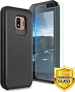 TJS Phone Case for Samsung Galaxy J2 Core/J2 2019/J2 Pure/J2 Dash/J2 Shine, with [Tempered Glass Screen Protector] Dual Layer Hybrid Shockproof Impact Rugged Armor Drop Protection Cover (Black)