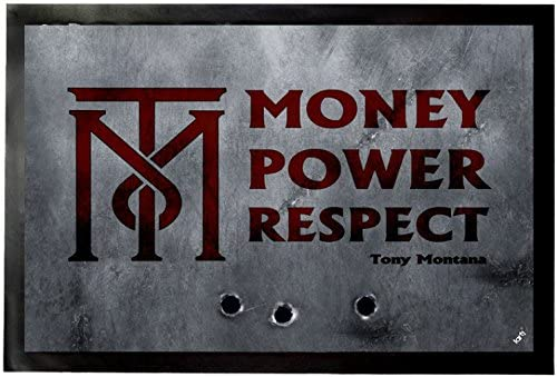 1art1 Scarface Door Mat Design Floor Mat – Money, Power, Respect, Tony Montana 24 x 16 inches