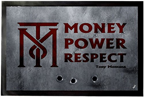 1art1 Scarface Door Mat Floor Mat - Money, Power, Respect, Tony Montana (24 x 16 inches)