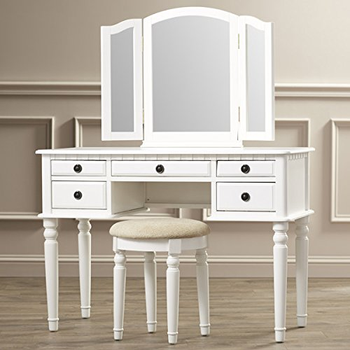 Vanity Set with Mirror and Stool Vintage Antique Makeup Dresser for Women Table Drawer Organizer Bedroom Furniture… (White)