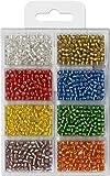 Rocailles/Indianerperlen mit Silbereinzug 60g 4,0mm 8 Farben Glänzend