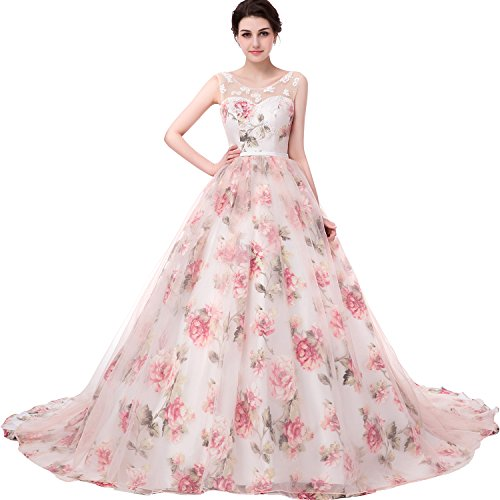 JoJoBridal Women's A Line Tulle Beaded Evening Prom Dress Ball Gowns Size...