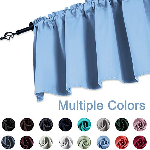 (KEQIAOSUOCAI Blackout Curtain Valance for Windows, 52 by 18 inch, Rod Pocket, 1 Panel, Light Blue)