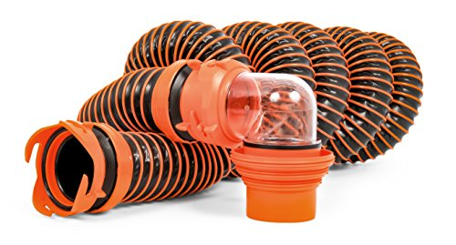 Rv Sewer Hose (Camco RhinoEXTREME 15ft RV Sewer Hose Kit, Includes Swivel Fitting and Translucent Elbow with 4-In-1 Dump Station Fitting, Crush Resistant, Storage Caps Included)