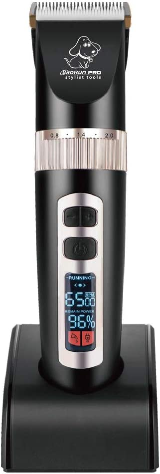 BaoRun P9 Clipper Dogs Pantalla LCD Profesional Pet Cat Clippers Aseo eléctrico Recortador Máquina de Corte de Pelo Recargable Animal,Black