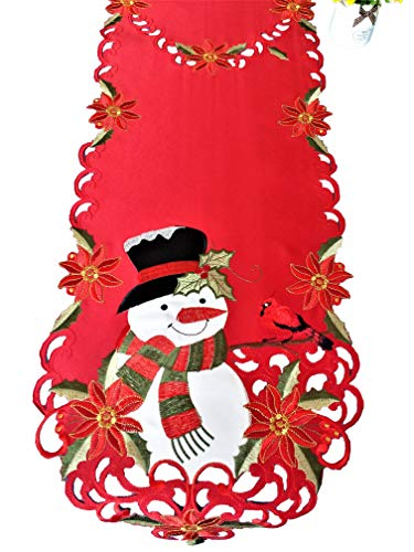 - Snowman & Cardinals Christmas Applique Table Runner 13x68 Inches