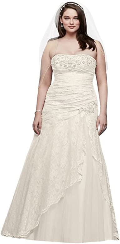 Lace A Line Side Split Plus Size Wedding Dress Style 9yp3344 At Amazon Women S Clothing Store Dresses