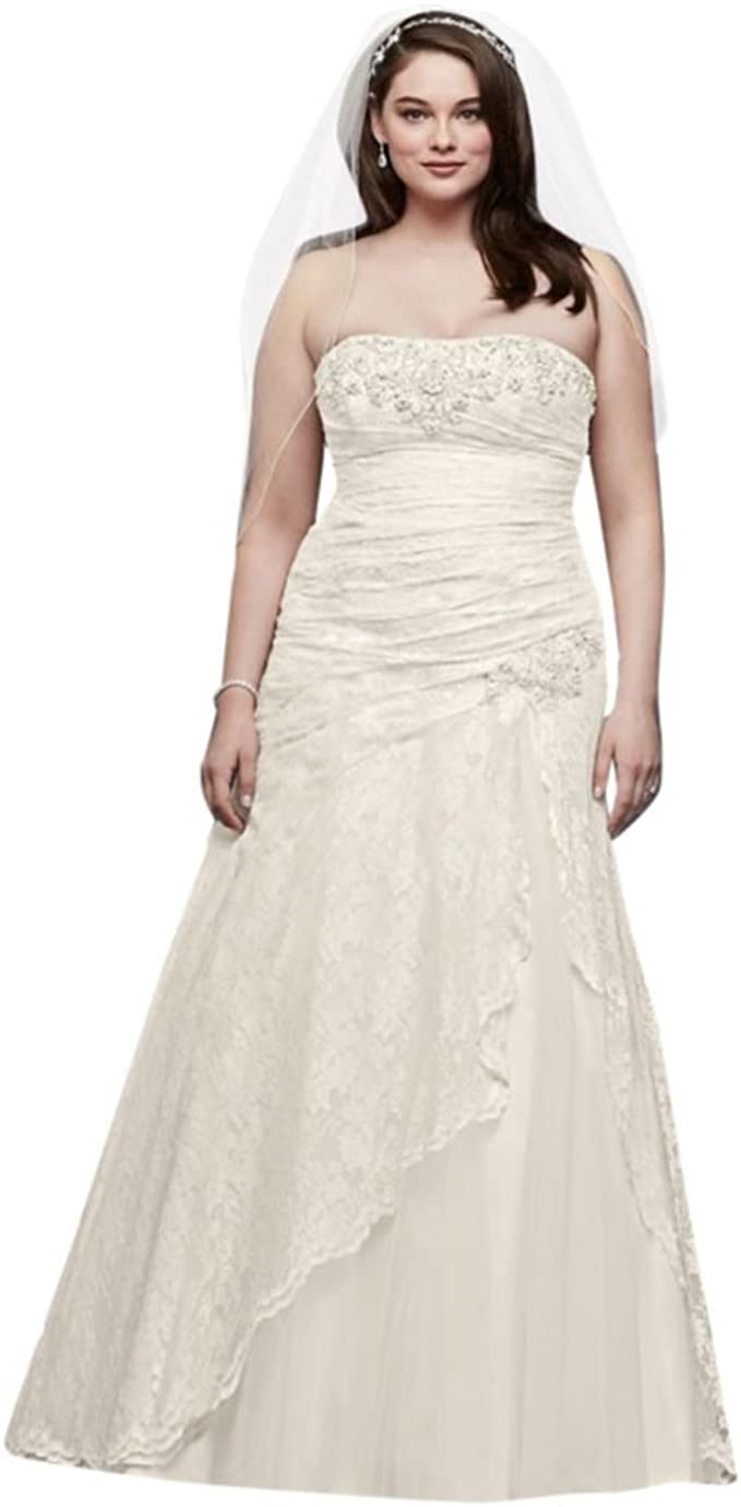 Lace A-line Side Split Plus Size Wedding Dress Style 9YP3344 ...