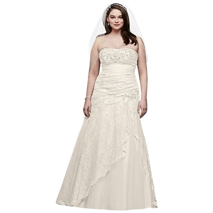 Lace A-line Side Split Plus Size Wedding Dress Style 9YP3344 ...