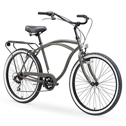 sixthreezero Around The Block Men's Cruiser Bike with Rear Rack, 26 Inches, 7-Speed, Matte Gray