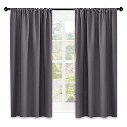 nicetown grey window curtains for bedroom home decoration thermal insulated rod pocket blackout blinds - Small Window Curtains