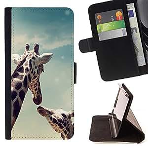 Dragon Case- Caja de la carpeta del caso en folio de cuero del tir¨®n de la cubierta protectora Shell FOR Sony Xperia Z3 D6653- Giraffe Cute Cartoon