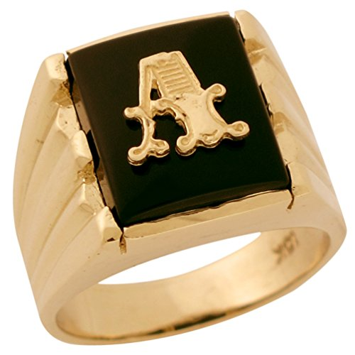 Mens Fancy Onyx (10k Solid Gold Rectangle Onyx Fancy Letter A Modern Mens Initial Statement Ring)