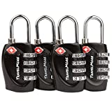 4 Pack TSA Approved Luggage Locks for Travel Safety, Small 4 Digit Combination Padlocks for Suitcases, Lockers & Bags