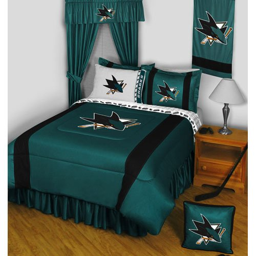 NHL San Jose Sharks 5 Pc Bedding Set Comforter and Sheets