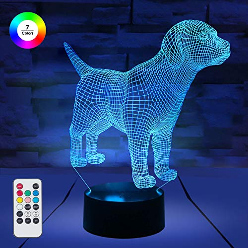 [ 7 Colors/3 Working Modes/Timer Function ] Remote and Touch Control Dog/Puppy Night Lights, Dimmable LED Bedside Lamp for Children and Kid's Room ()