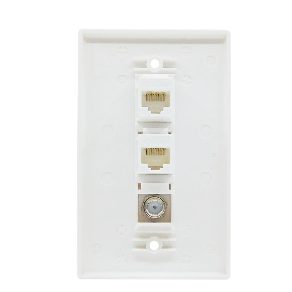 Esylink Al304 Ethernet Coax Wall Plate Cat6 Platecover Housing Assembly Google On Cable To Cat5 Wiring With 1 Port Tv F Type Connector White Computers