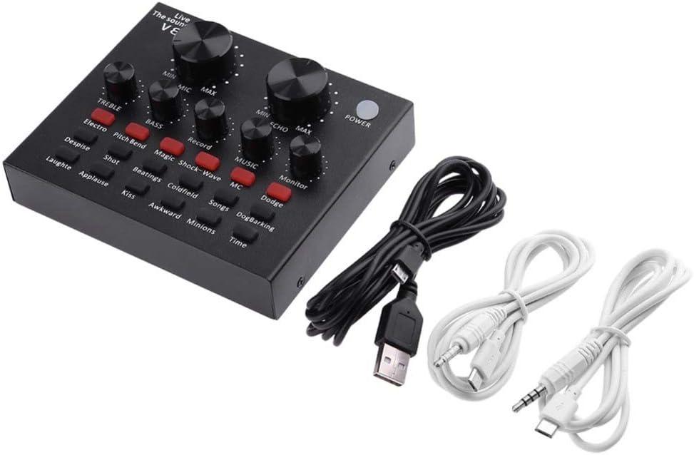 Portátiles de sonido en vivo tarjeta de teléfono móvil Transmisión en vivo Karaoke cambiador de la voz tarjeta de sonido Tarjeta de sonido en vivo mezclador de voz dispositivo cambiador de sonido