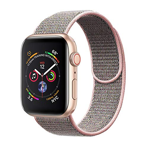 amBand Sport Loop Band Compatible with Apple Watch 38mm 40mm, Breathable Nylon Replacement Band Compatible with iWatch Series 1/2/3/4, Sport, Edition-New Pink Sand ()
